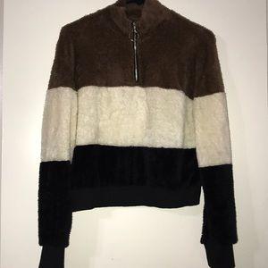 Fluffy, zip up, sweater/shirt, never worn.
